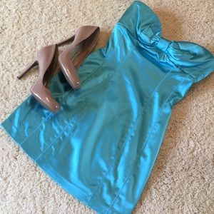 Bebe shiny aqua strapless dress